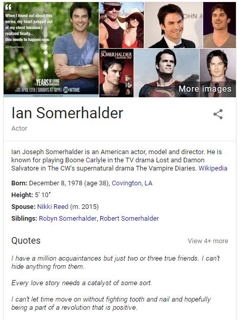 Ian Somerhalder Snabbfakta